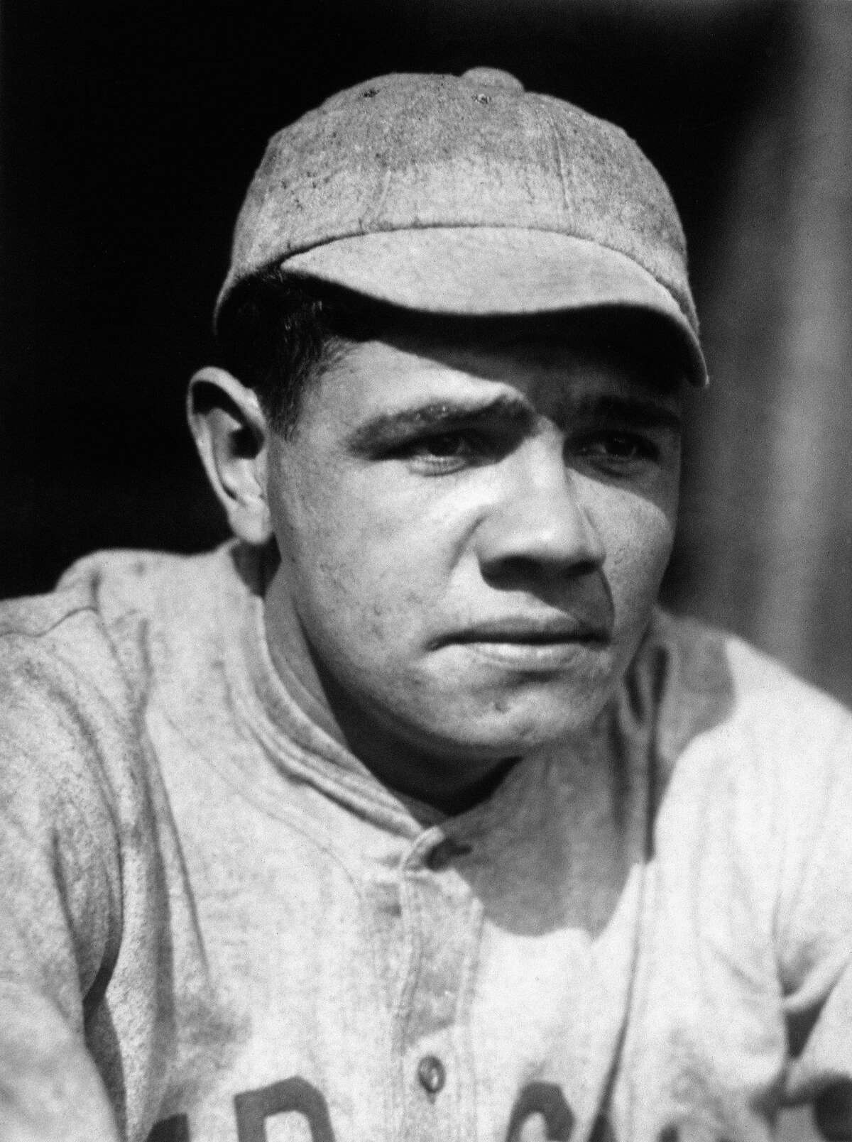 1918: Portrait of pitcher Babe Ruth, of the Boston Red Sox, circa 1918. ~~