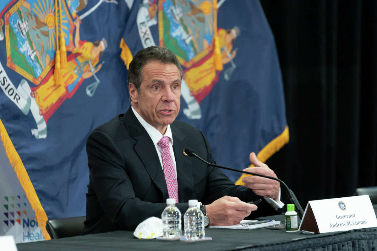 Governor Andrew Cuomo speaks during a press conference of the Coronavirus briefing at Northwell Feinstein Institute For Medical Research in Manhasset.