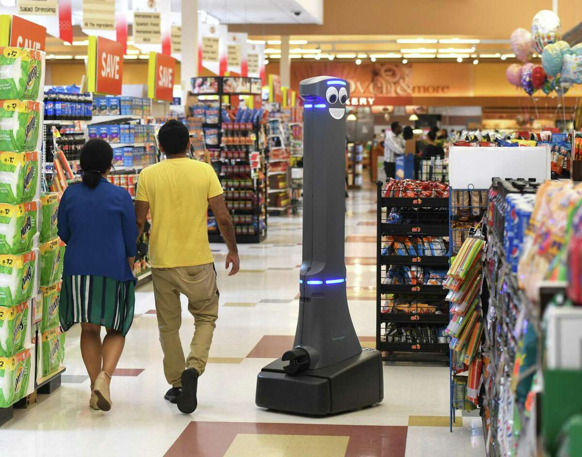 Marty the robot roams the aisles of the West Main Street Stop & Shop in Stamford in 2019.