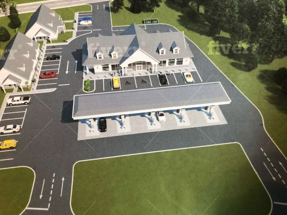 Plans have been filed with the Planning & Zoning Commission for redevelopment of 1055 Bridgeport Ave., present home of Langanke's Florist and Greenhouses. Above is a rendering of the plan. Photo: Contributed Photo / Connecticut Post