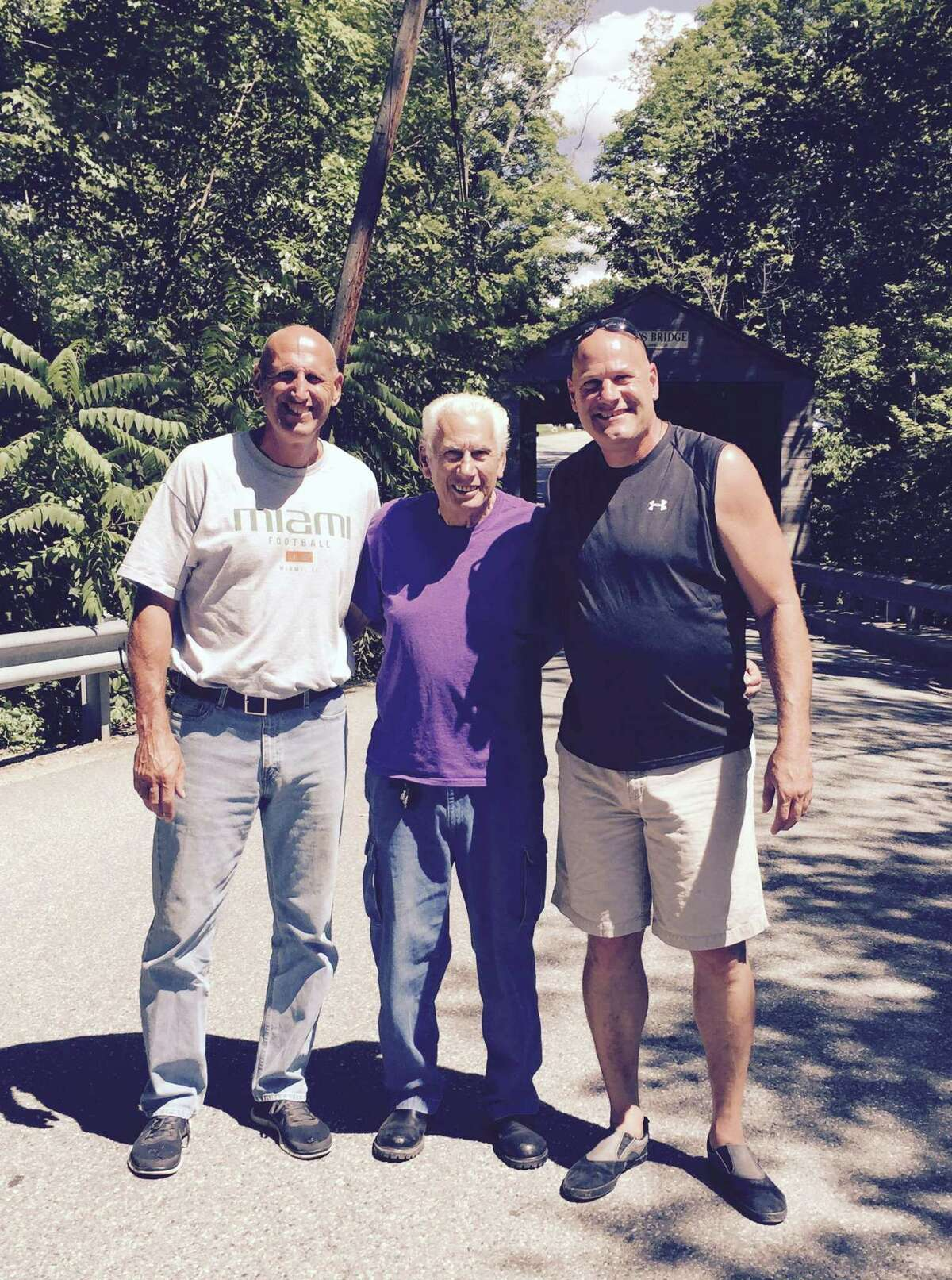 East Haven Mayor Joe Carfora, right, with his father, Al Carfora Jr., center, and brother Al Carfora III.