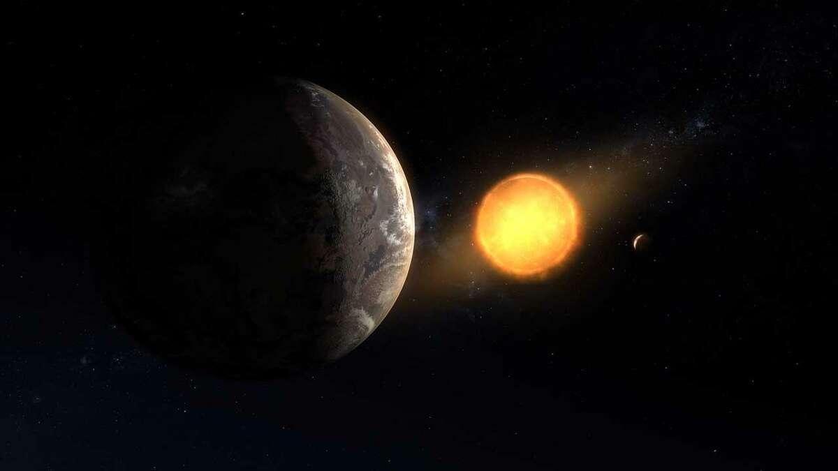 An artist's concept of Kepler-1649c orbiting around its host red dwarf star.
