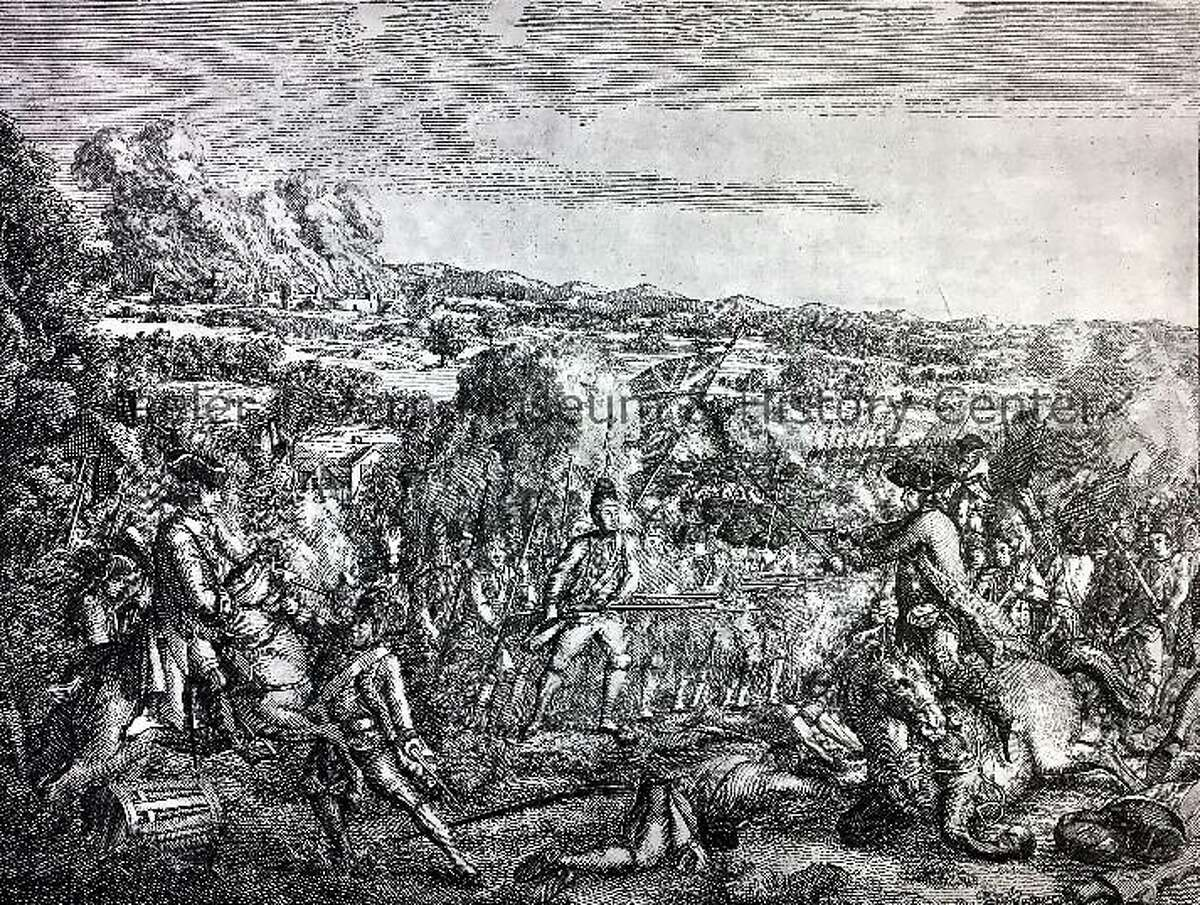 This etching, A Skirmish in America, was printed in 1780 by Ja. Sharpe of London to represent the Battle of Ridgefield in April 27, 1777. It resides in Keeler Tavern Museum & History Center's Collections.