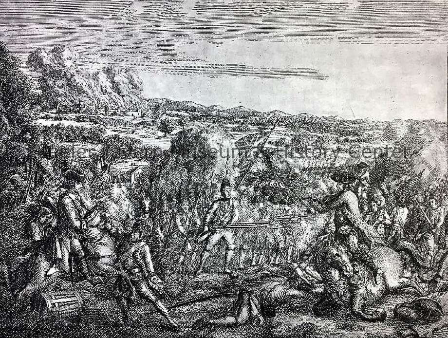 This etching, A Skirmish in America, was printed in 1780 by Ja. Sharpe of London to represent the Battle of Ridgefield in April 27, 1777. It resides in Keeler Tavern Museum & History Center's Collections. Photo: Contributed Art / Hearst Connecticut Media