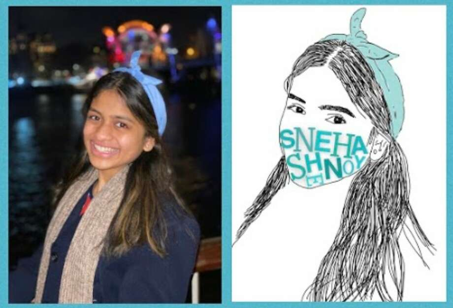 Sneha Shenoy decided to use her love of art and drawing to supplement the Pledge to Distance campaign. Pledgers will receive a free personalized piece of art depicting their face with the letters of their name arranged to look like a mask. Photo: Courtesy Of Sneha Shenoy