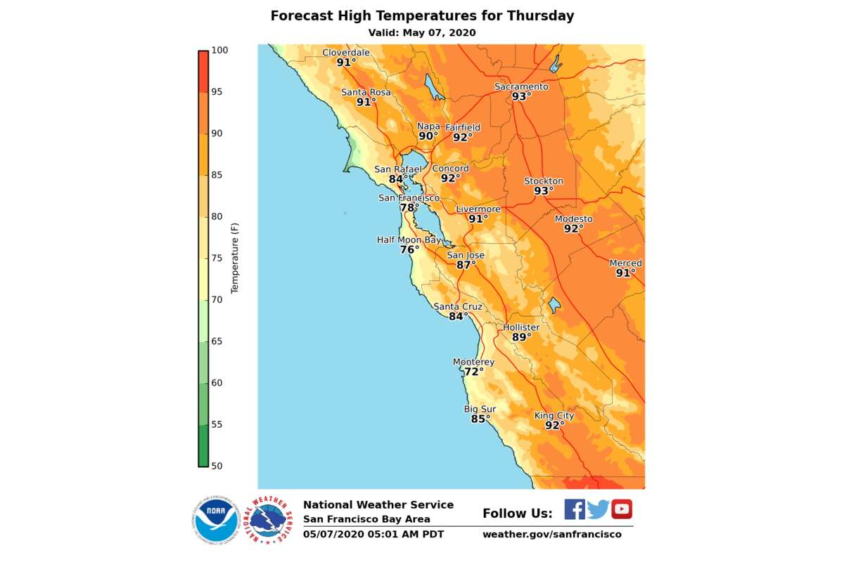 The mercury is expected to rapidly rise into the afternoon with inland areas reaching highs in the high-80s to low-90s. Santa Rosa and Livermore are expected to hit 91 degrees, Napa 90, San Jose 87 and San Jose 84.A light sea breeze along the coast will prevent things from heating up too much, but locations will still rise into the 70s with San Francisco expected to hit a high of 78 and Santa Cruz maybe even 80.