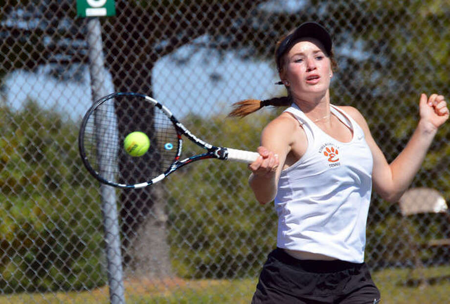 Callaghan Adams ended her prep career with a program-record 166 wins, including a program-record 13 singles wins at the state tournament. Photo: Intelligencer Sports Staff