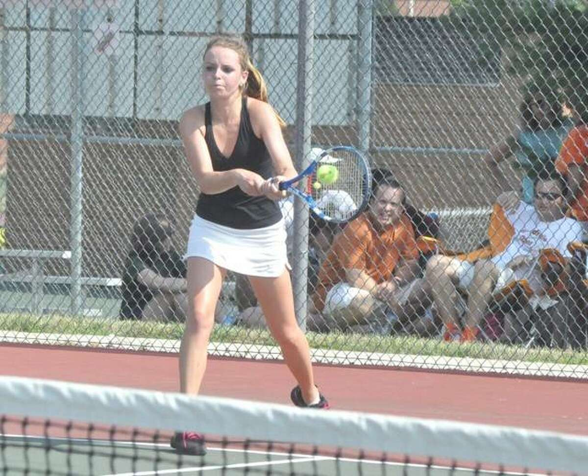 A four-time state qualifier, Morgan McGinnis finished with a 135-54 record, including 14-2 in sectional matches. She won two singles sectional championships and one in doubles.