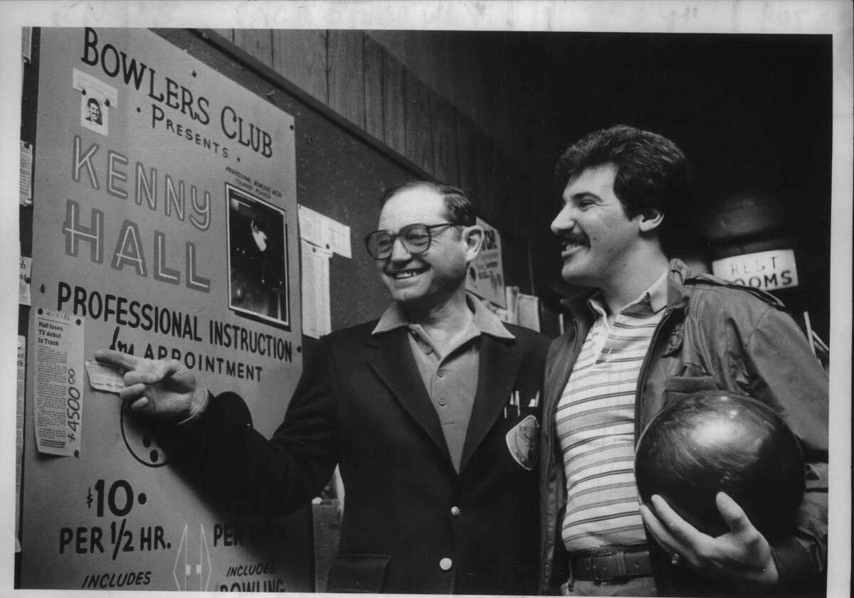 Morris Cramer and Kenny Hall at Bowlers Club in Latham, New York. April 22, 1982 (Bob Richey/Times Union Archive)