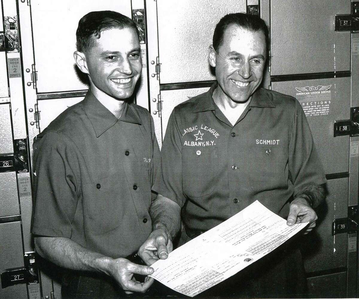 Morris Cramer, left, and Joey Schmidt finished third in the 1958 American Bowling Congress doubles championships. (Times Union archive)