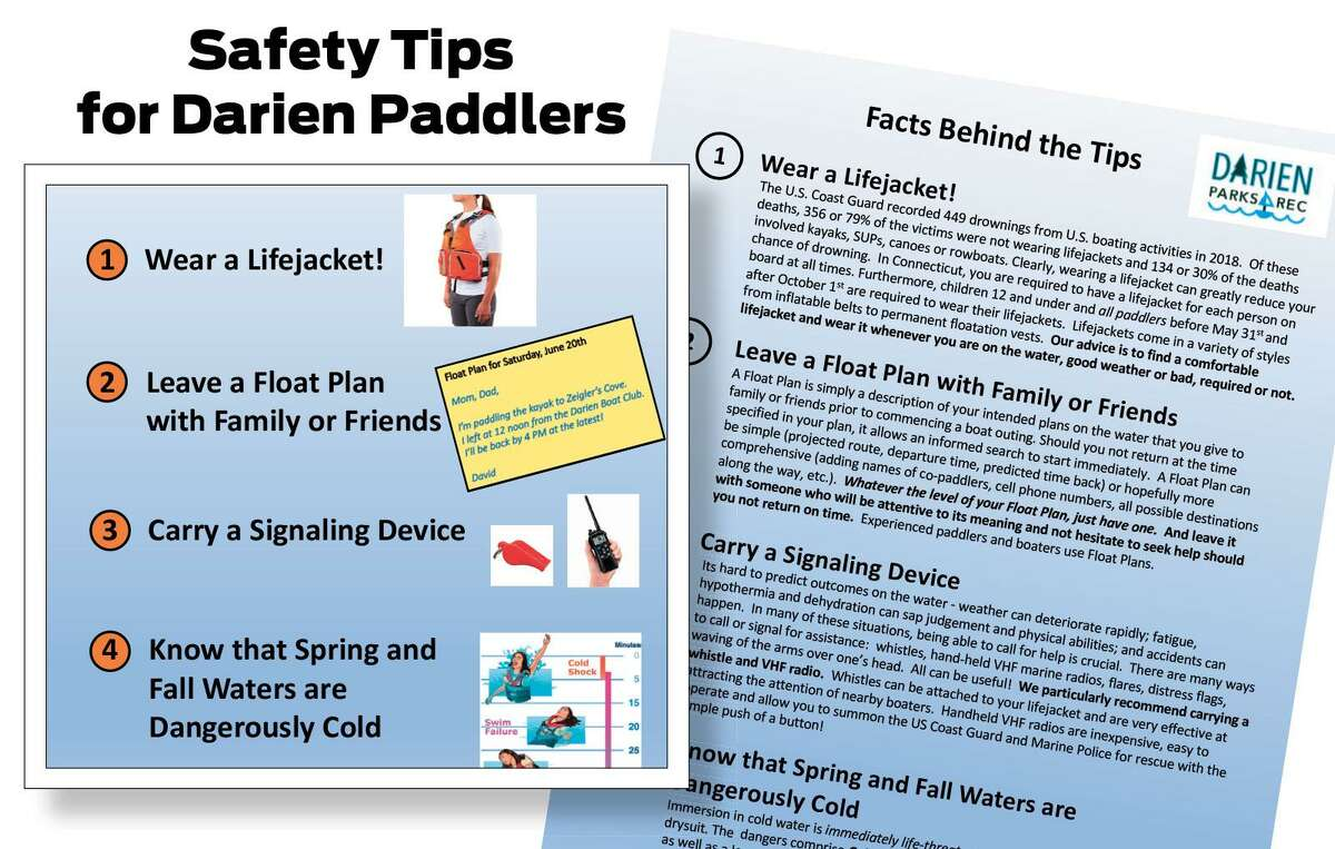 The safety flyer that is being posted by Darien's Commission on Coastal Waters offering safety tips for spring kayakers.
