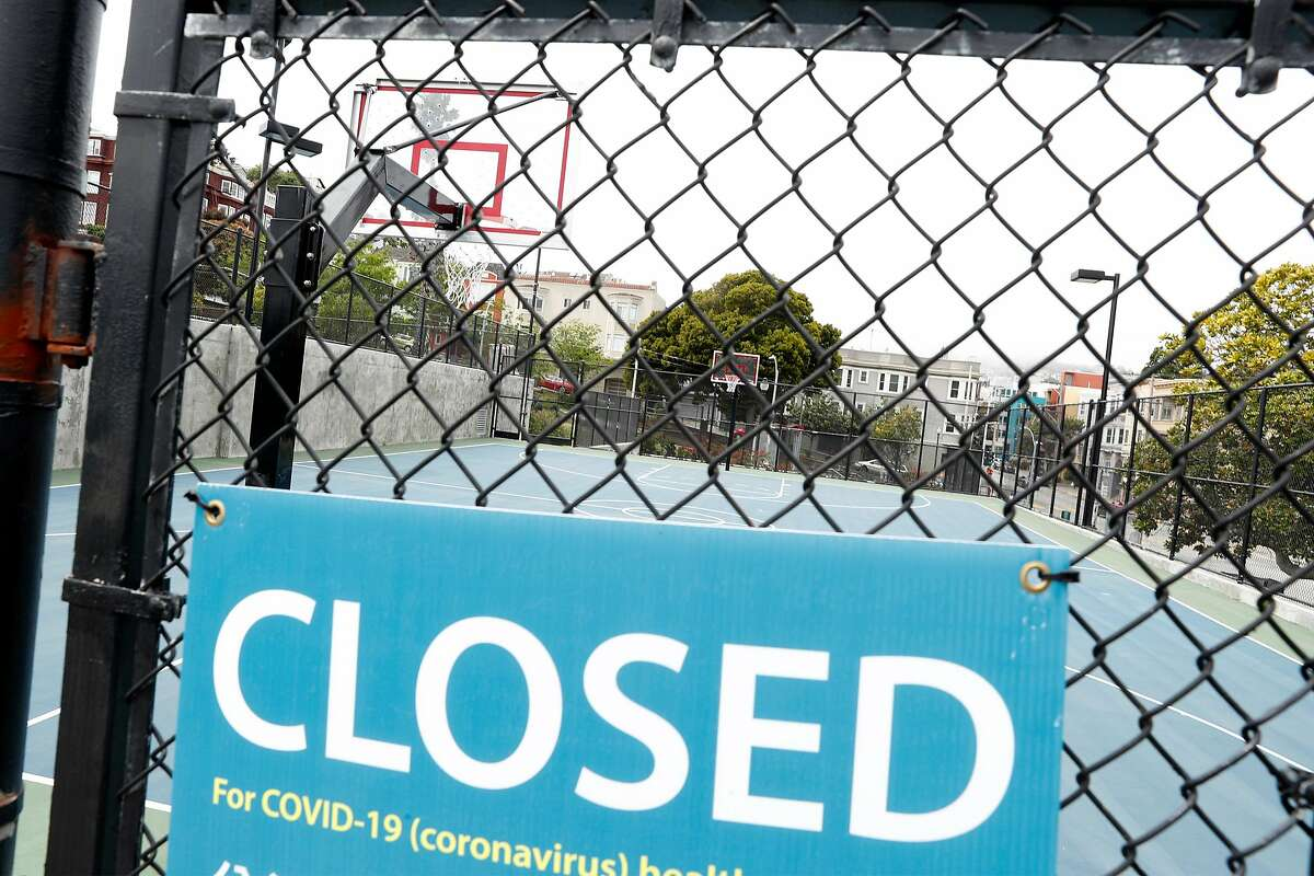 Dolores Park's basketball court in San Francisco, Calif., on Wednesday, April 29, 2020.