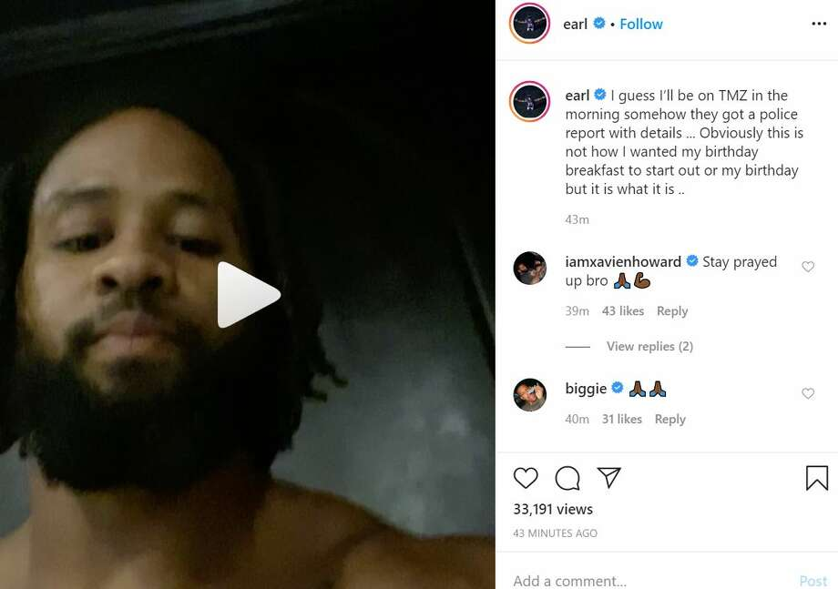 "In a deleted Instagram post, Baltimore Ravens safety Earl Thomas recorded a message to ""get ahead"" of the TMZ report detailing an altercation with his wife on April 13. TMZ published its article shortly after Thomas' post. Photo: Earl Thomas III/ Instagram"