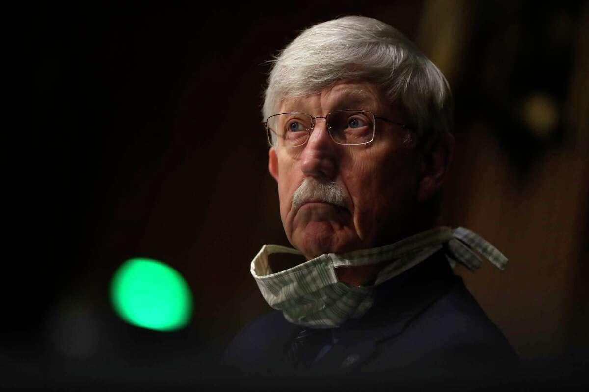 National Institutes of Health Director Dr. Francis Collins listens during a Senate Health Education Labor and Pensions Committee hearing on new coronavirus tests on Capitol Hill in Washington, Thursday, May 7, 2020.