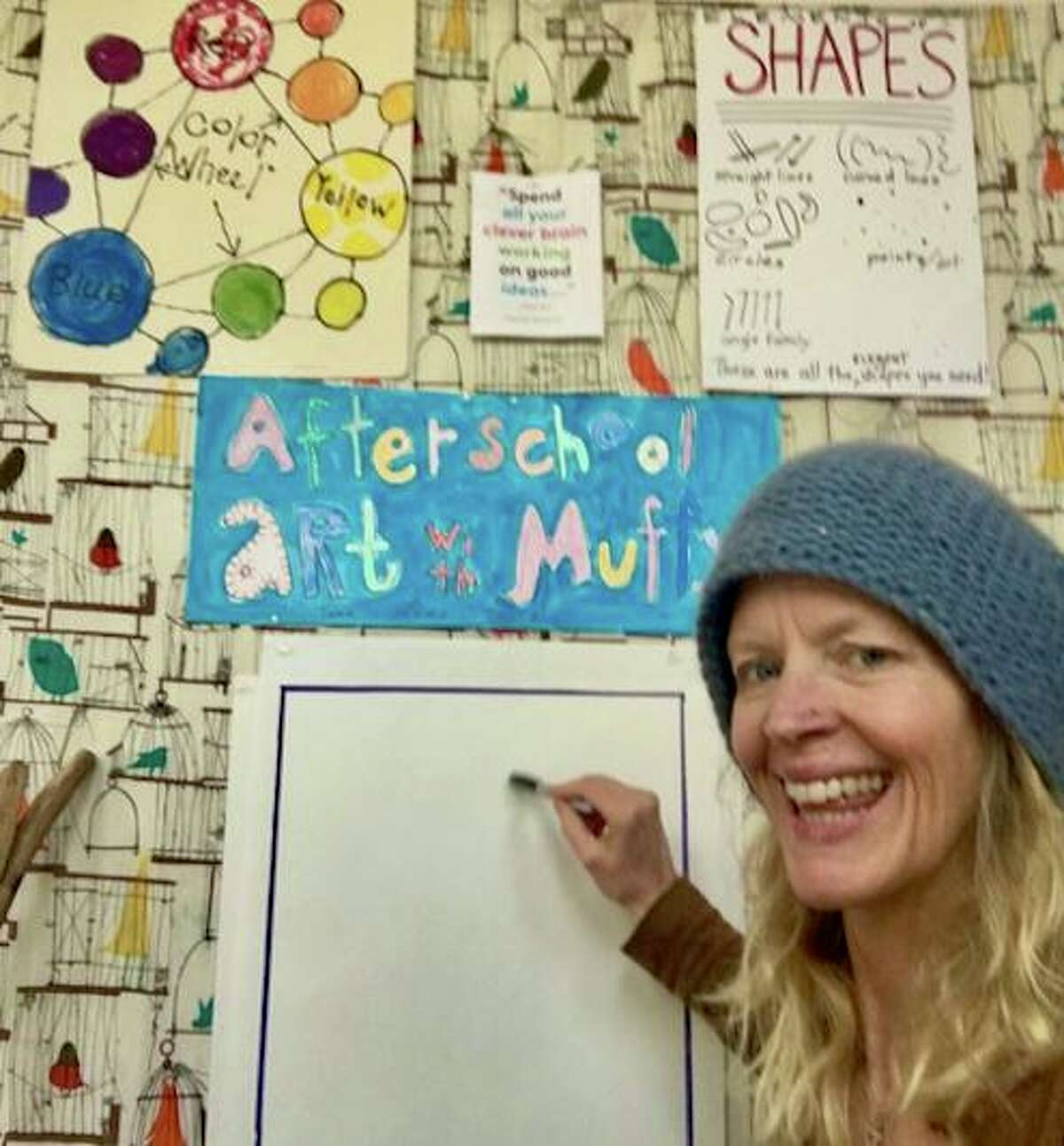 Instructor Muffy Pendergast is leading two new weekly online art classes for children in kindergarten through 5th grade, hosted by the Rowayton Arts Center in Norwalk.