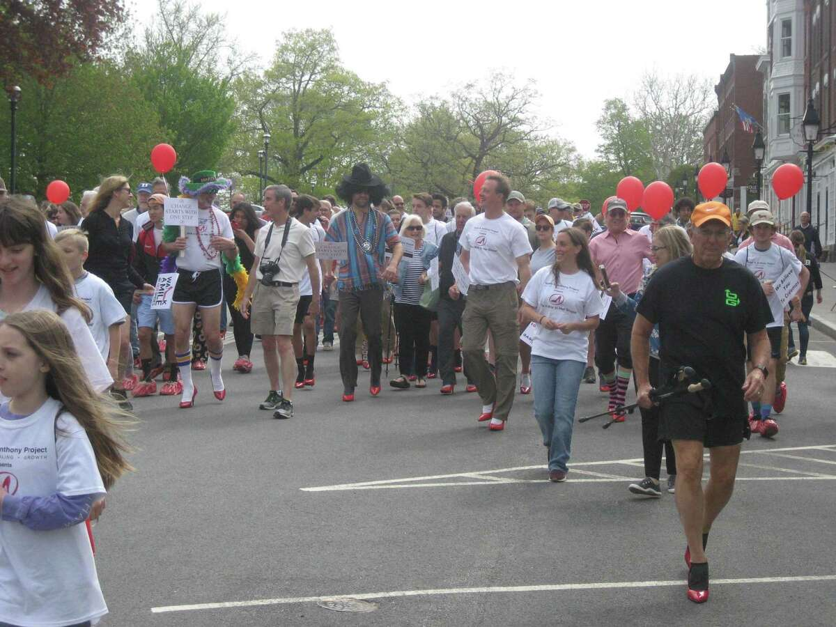 The Susan B. Anthony Project held its second annual Walk a Mile in Her Shoes in May 2019 on the Litchfield Green. This year's walk is a virtual one because of the coronavirus pandemic.