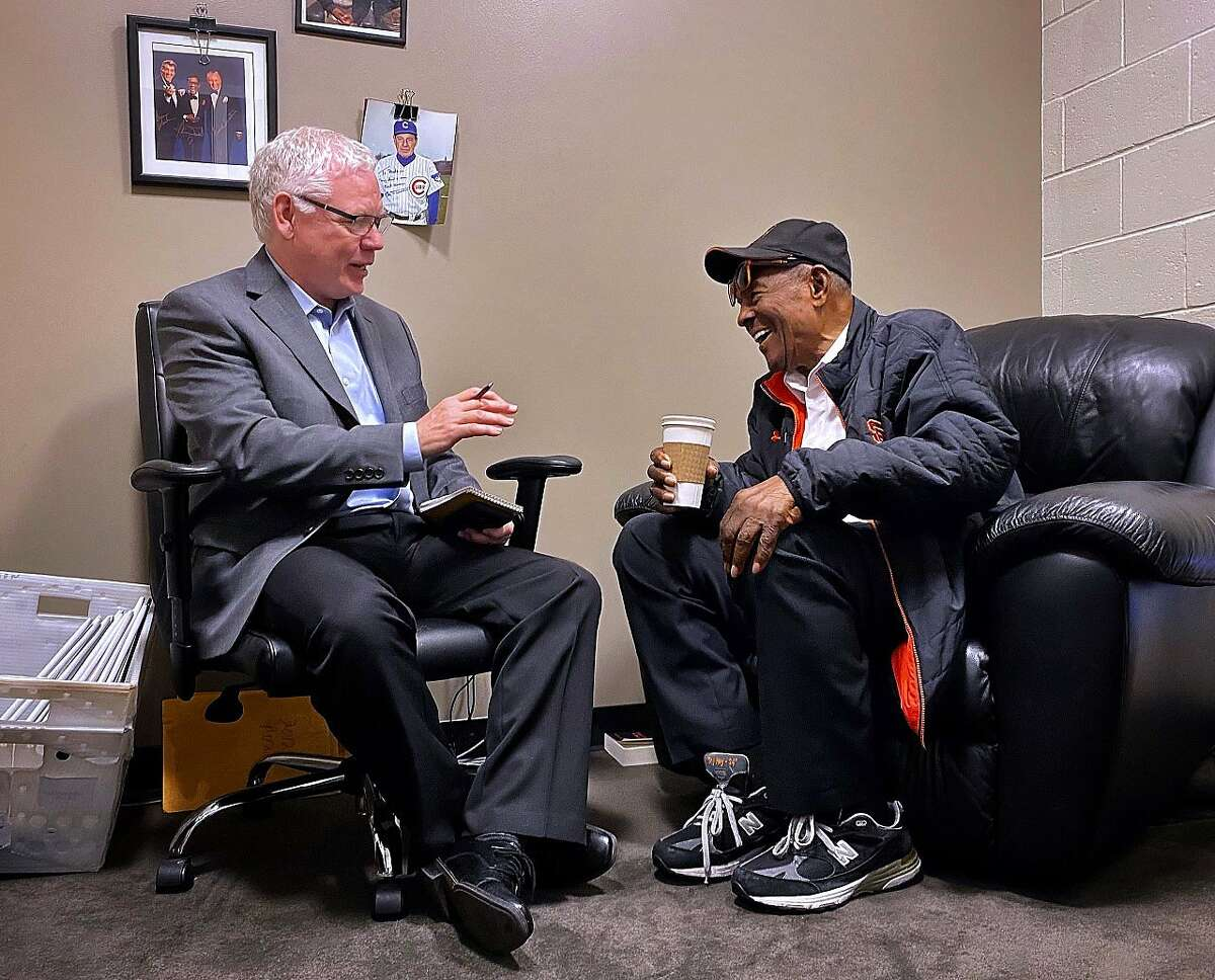 """Willie Mays, right, and John Shea authored the new book """"24: Life Stories and Lessons from the Say Hey Kid,"""" which is published by St. Martin's Press and will be released Tuesday, May 12."""