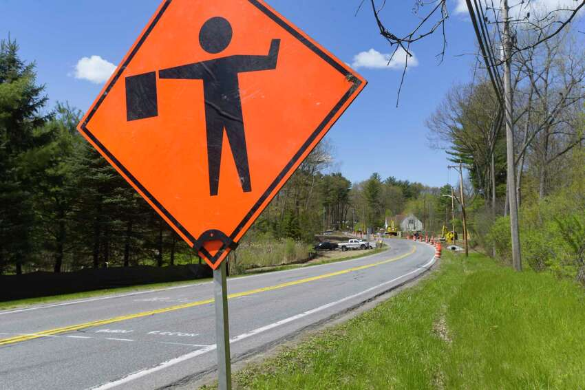 Construction takes place along Rosendale Rd. near the intersection with River Rd. on Thursday, May 7, 2020, in Niskayuna, N.Y. (Paul Buckowski/Times Union)