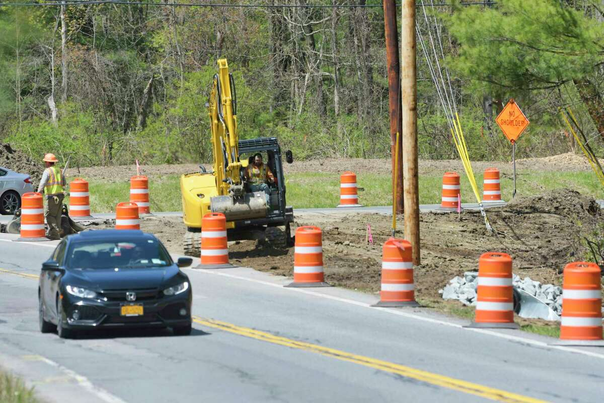 Construction work takes place along Rosendale Rd. near the intersection with River Rd. on Thursday, May 7, 2020, in Niskayuna, N.Y. (Paul Buckowski/Times Union)