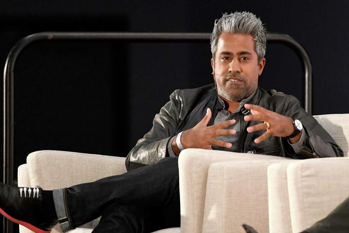 Anand Giridharadas speaks onstage at Politicon 2018 at Los Angeles Convention Center.