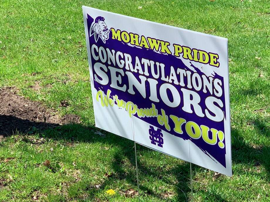 """Morley Stanwood High School graduating seniors will be celebrated with a """"Senior Cruise"""" on May 15. Yard signs honoring each student will line the street from Reed City to Morley Stanwood High School during the cruise. (Pioneer photo/Cathie Crew)"""