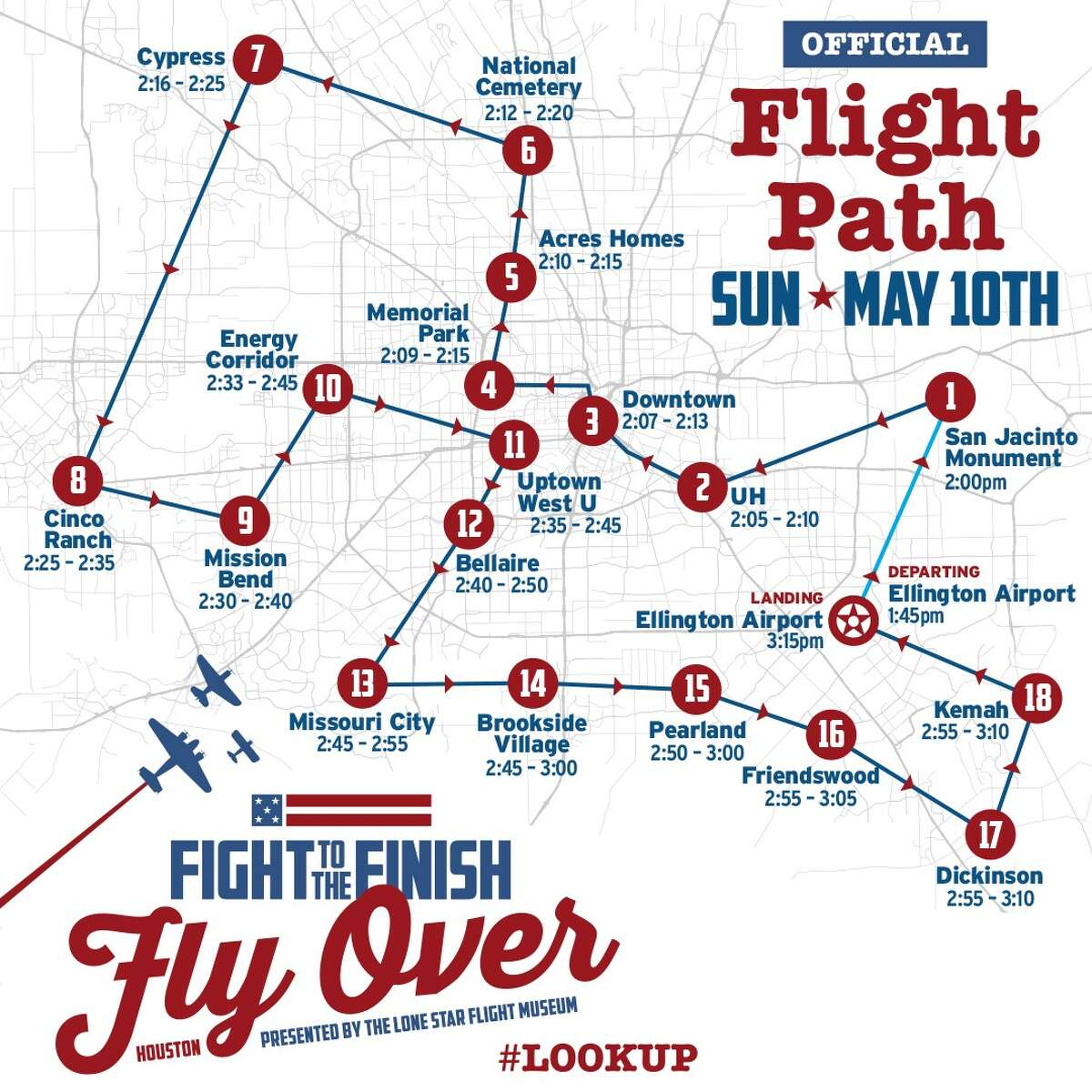 The flyover will take off at 2 p.m. Sunday from Ellington Airport and fly 120 miles, for about one hour.  Cites such as Pasadena, Pearland, Friendswood, Dickinson, Kemah, Cinco Ranch, and Spring-Cypress, among others, will have a front row seat to the flyover.