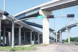 Elevated ramps lead to toll lanes on Texas 288 that are planned to open this fall.