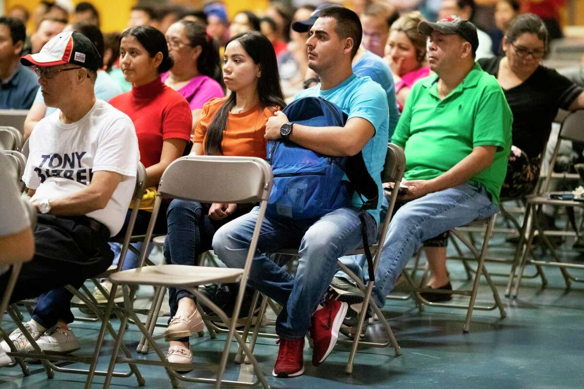 Members of the community attend a forum intended to listen to the Houston mayoral candidates on issues related to education, immigration, census and energy on Tuesday, Sept. 24, 2019, in Houston.