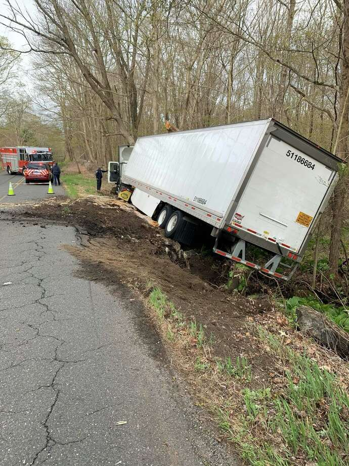 A truck off the road in Seymour, Conn., on Wednesday, May 6, 2020. Photo: Contributed Photo / Great Hill Hose Company