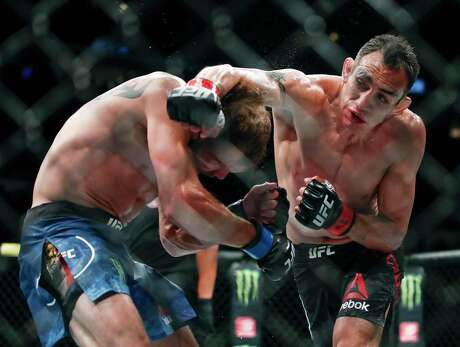 Tony Ferguson, right, will fight Justin Gaethje for the interim lightweight title in UFC 249 on Saturday in Jacksonville, Fla.