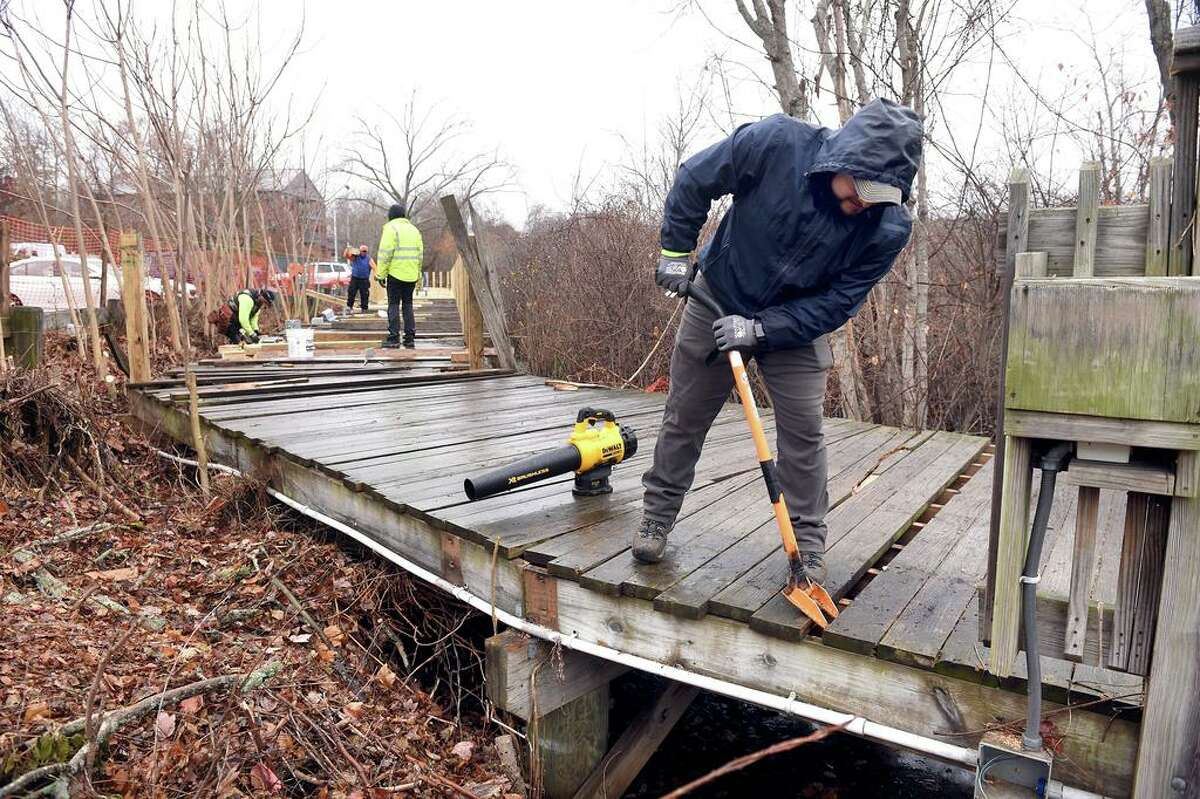 In this file photo, work on the Tuxis Pond Walkway in Madison in 2019.