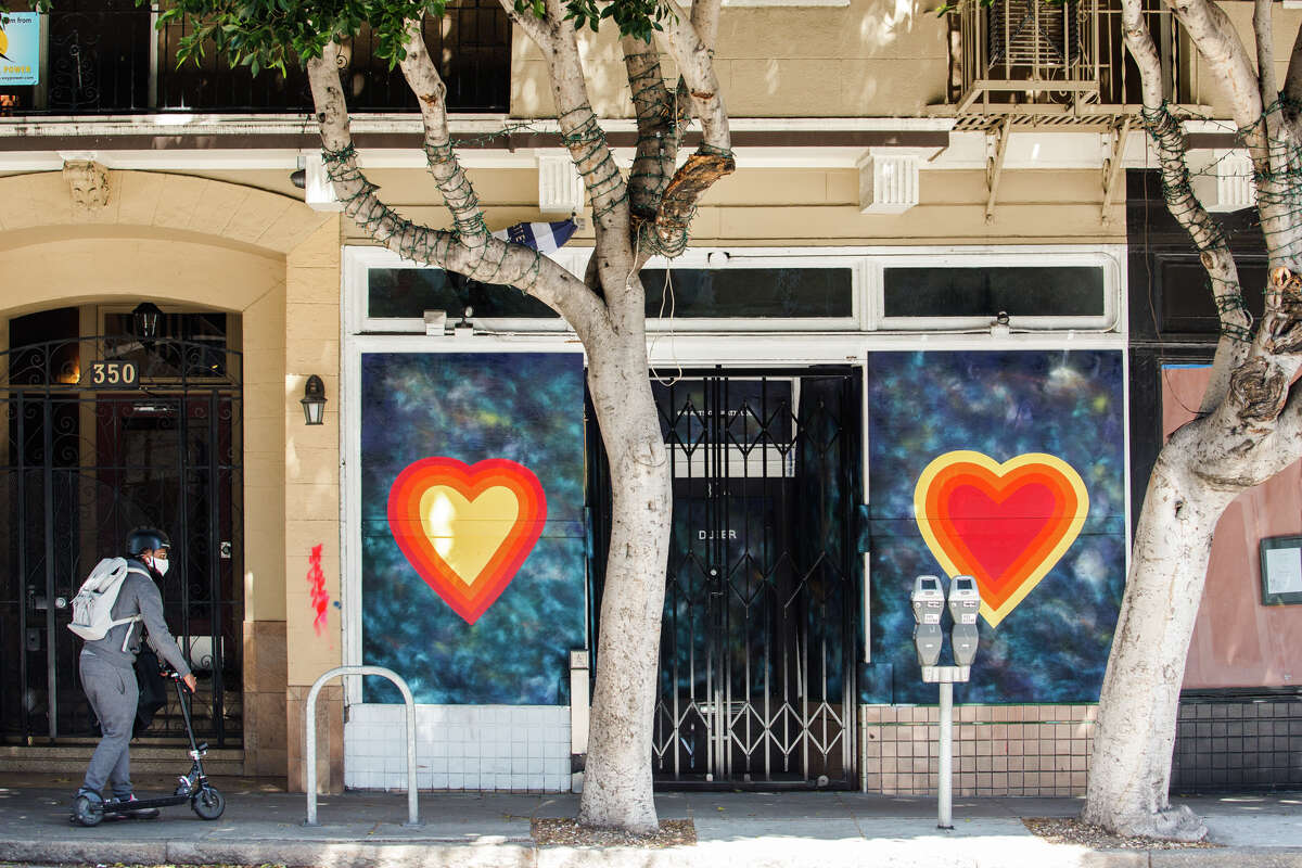 Riley and Winner, who founded the SF-based arts production agency Building 180, saw an endless supply of empty canvases and got the idea to raise money for artists to transform boarded-up storefront with murals.They brought the idea to the nonprofit Art for Civil Discourse, one thing led to another, and a project called Paint the Void was born.