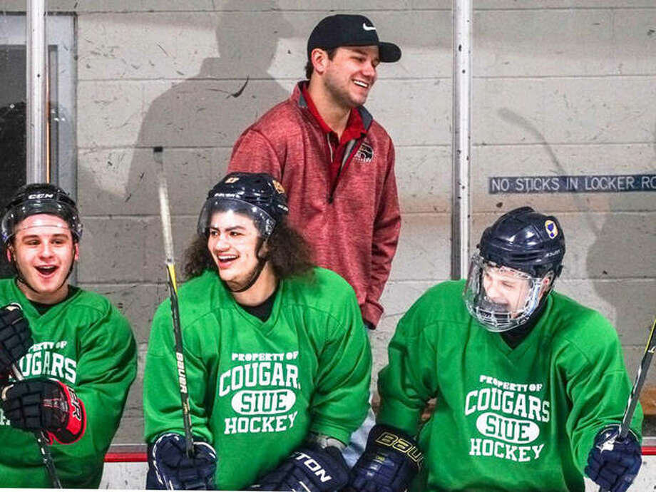 SIUE Cougars hockey team general manager and co-head coach Taylor Emerick shares a laugh with prospects at a Cougars mini camp in 2018. This year's mini camp was cancelled because of the COVID-19 threat. Photo: Billy Hurst File Photo | For The Telegraph