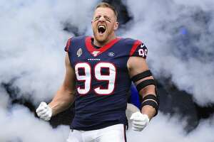 Houston Texans defensive end J.J. Watt (99) before an NFL football game against the Oakland Raiders Sunday, Oct. 27, 2019, in Houston. (AP Photo/Eric Christian Smith)