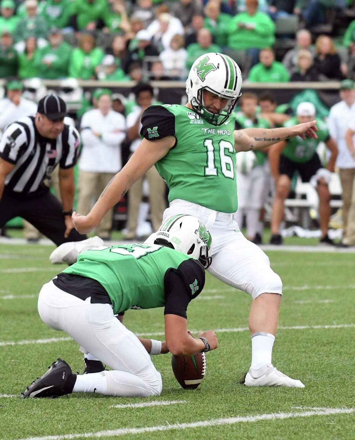 Catholic Central High School graduate Justin Rohrwasser of Clifton Park kicks the ball for Marshall. (Courtesy of Marshall Athletics)