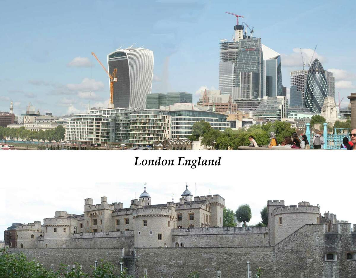 """A couple of years ago Peter O'Hara and family of Rensselaer took a family trip to London. He was impressed by the way very old, newer and newest buildings were seamlessly blended in the city. """"London has reinvented itself many times and still kept the old architecture."""" In this photograph, he combined two panoramic images each from three rather poor pictures that said nothing by themselves. """"The two larger image together express my view of London,"""" he said. (Peter O'Hara)"""
