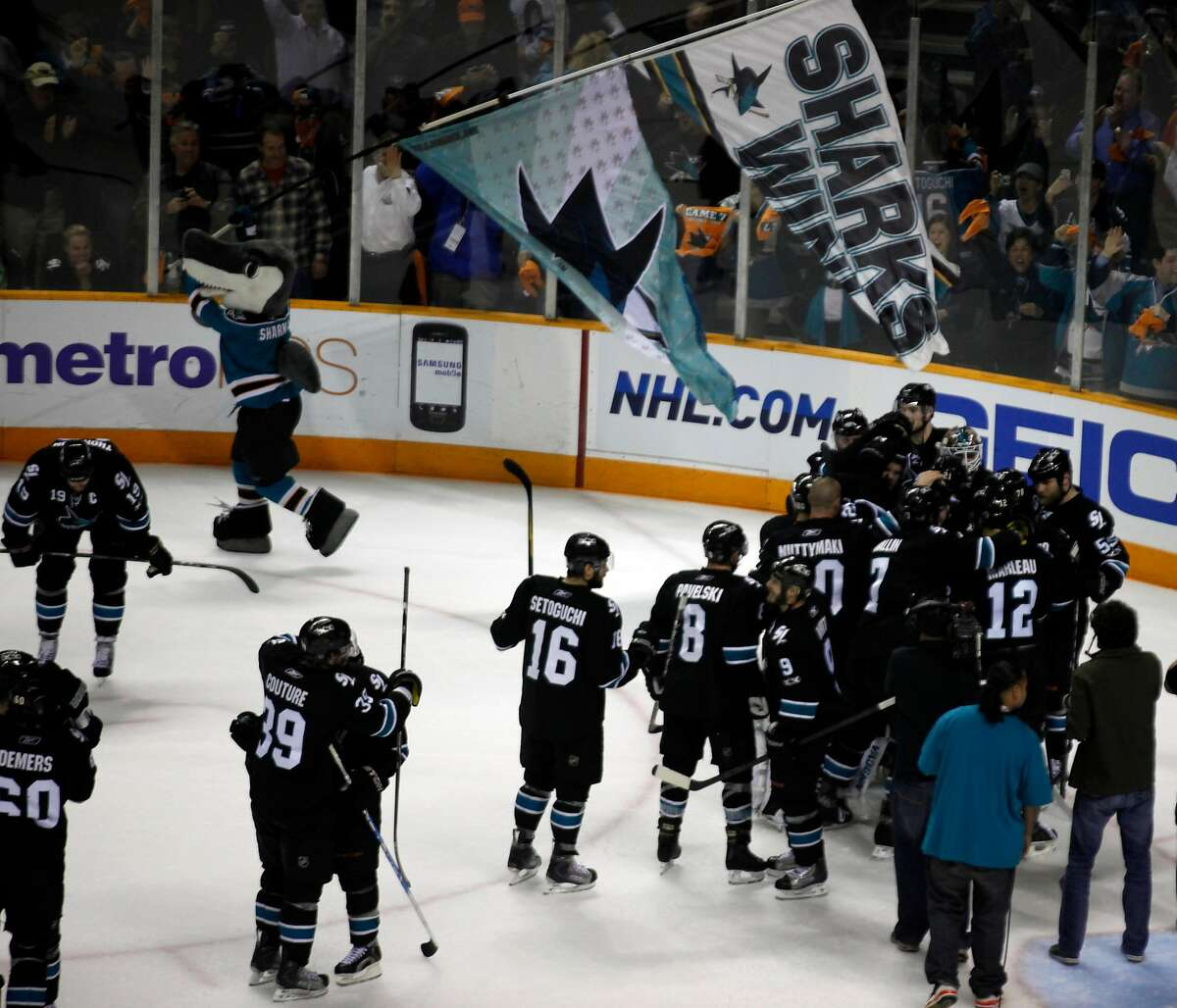 The San Jose Sharks celebrate their win over the Detroit Red Wings in the third period of Game 7 of a second-round NHL Stanley Cup playoff hockey game in San Jose, Calif., Thursday May 12, 2011. The Sharks won 3-2.