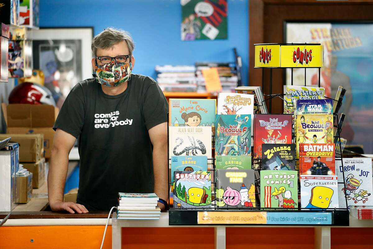 Brian Christensen, owner of Brian's Comics, at his store in Petaluma, Calif., on Thursday, May 7, 2020. Christensen has been operating as an online only operation, but starting May 8th, Sonoma County non-essential businesses like florists, bookstores and clothing stores, will be able to offer curbside pick up.