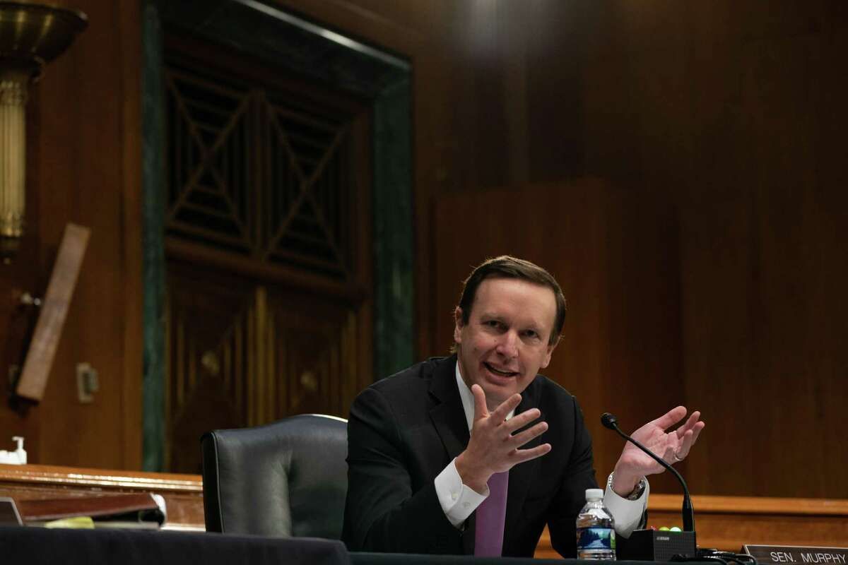 U.S. Sen. Chris Murphy, D-Conn., speaks during a Senate Health Education Labor and Pensions Committee hearing on new coronavirus tests May 7, 2020 on Capitol Hill in Washington DC.