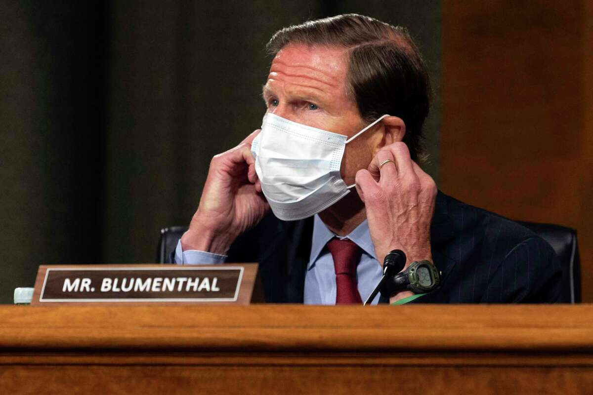 U.S. Sen. Richard Blumenthal, D-Conn., arrives for a Senate Committee on Commerce, Science and Transportation hearing on