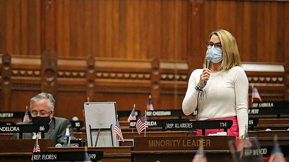 In May, the state House of Representatives held a socially distant session to end the truncated 2020 Connecticut General Assembly session. Shown are House Minority Leader Themis Klarides of Derby, who is not running for re-election, and Rep. Vincent Candelora of North Branford, her presumptive successor. Photo: Christine Stuart /CT News Junkie /