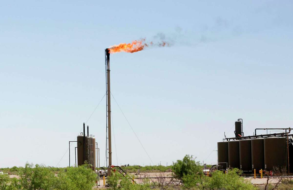 Flaring on a site near Orla, Texas.