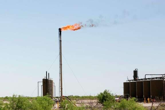 Flaring on a site near Orla, Texas.