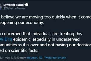 Houston Mayor Sylvester Turner on Thursday night tweeted out a message expressing his concern about the rate at which businesses are reopening in Harris County.