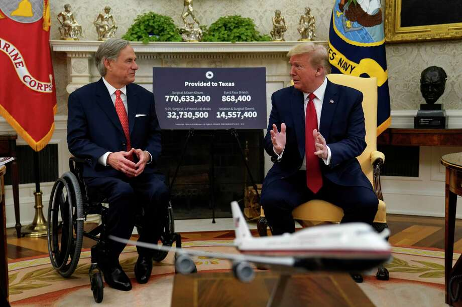 President Donald Trump speaks during a meeting about the coronavirus response with Gov. Greg Abbott, R-Texas, in the Oval Office of the White House, Thursday, May 7, 2020, in Washington. (AP Photo/Evan Vucci) Photo: Evan Vucci / Evan Vucci / Associated Press / Copyright 2020 The Associated Press. All rights reserved