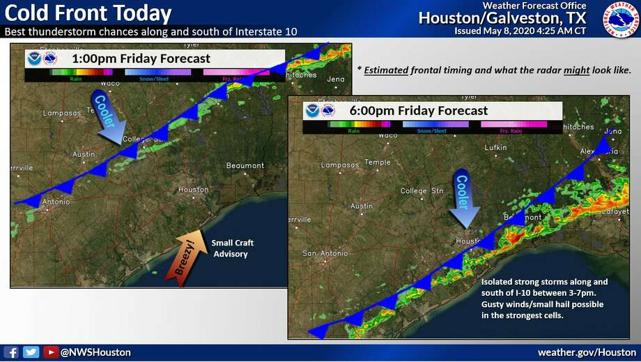 Storms are predicted in Houston on Friday, May 8, 2020. Photo: National Weather Service
