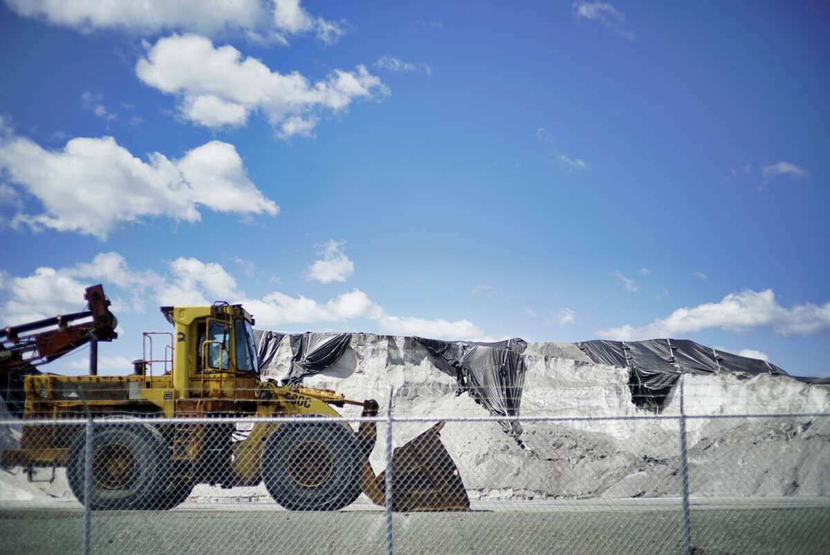 A view of the road salt piles at American Rock Salt Corp on Tuesday, April 28, 2020, in Troy, N.Y. (Paul Buckowski/Times Union)