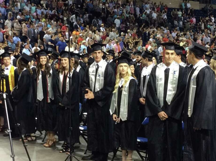 Graduating seniors of Hargrave High School are prepared to walk across the stage during their graduation ceremony Thursday, May 25 at Ford Park in Beaumont. Photo: Courtesy Of Huffman ISD Facebook Page / Courtesy Of Huffman ISD Facebook Page