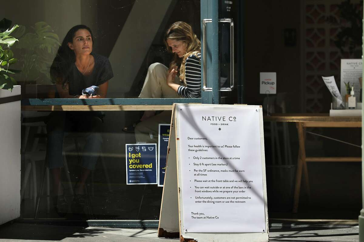 Nicole Fish (left) and Caitlin Meade (middle) sit at Native Co., a restaurant they opened in 2014 in the financial district seen on Thursday, May 7, 2020, in San Francisco, Calif. Native Co. was able to secure a $181,437 forgivable loan from the federal government as it stays open for delivery.