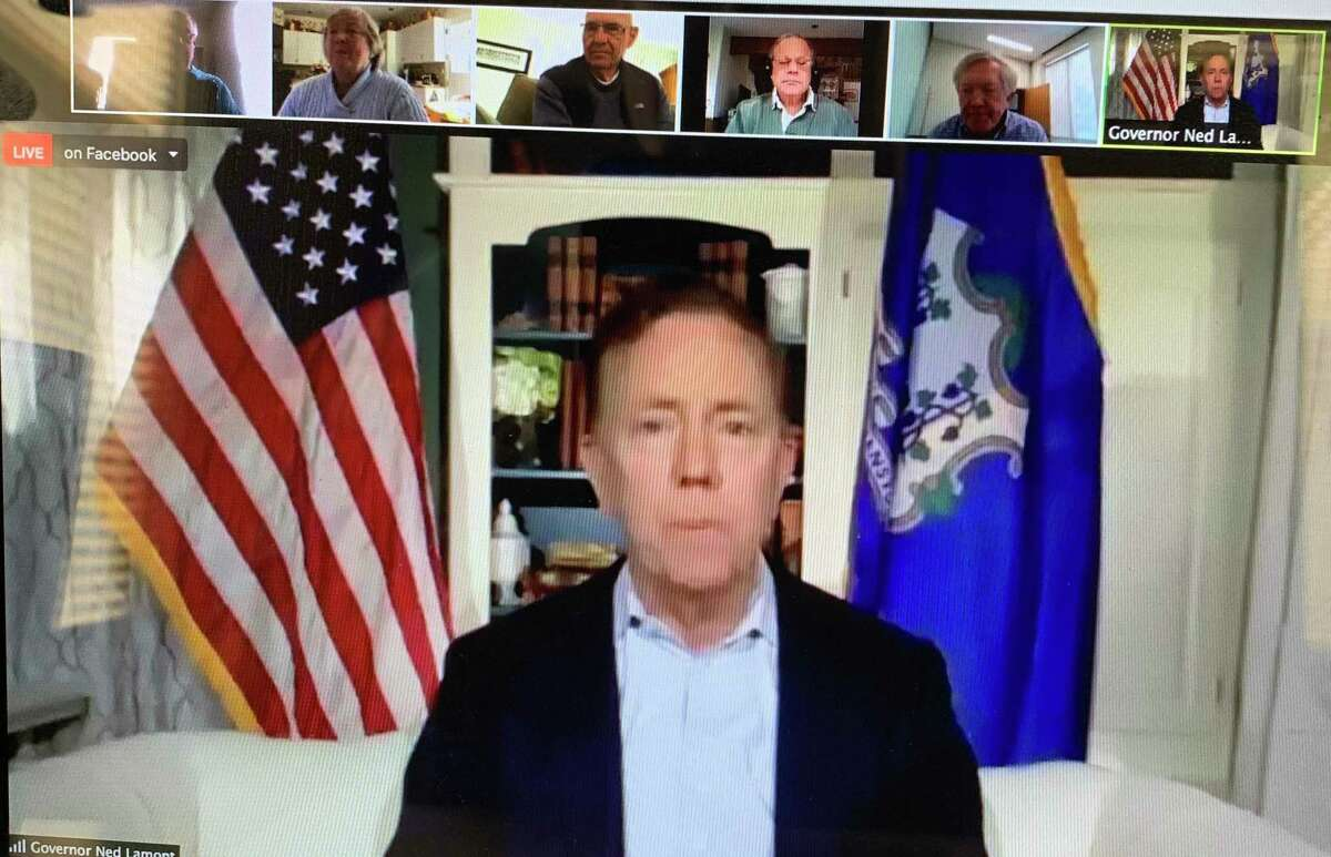 Gov. Ned Lamont answers a question during his participation in the New Canaan Advertiser's weekly coffee with readers, moved to Zoom due to the coronavirus pandemic last Friday.